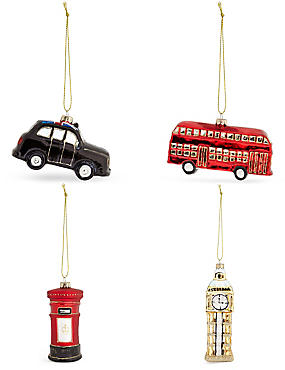 Set of 4 Luxury Glass London Icon Decorations, , catlanding