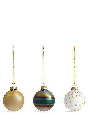 Set of 12 Luxury Glass Monochrome Baubles, , catlanding