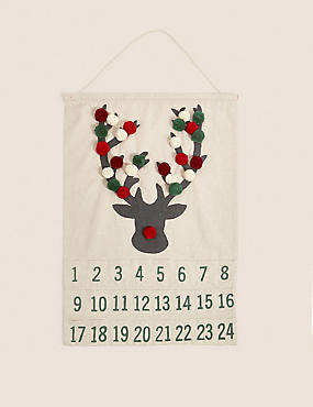 Hanging Fabric Stag Advent, , catlanding