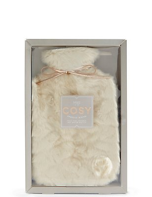 Cream Faux Fur Hot Water Bottle, , catlanding