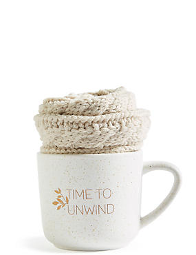 Cream Mug & Cosy Sock Set, , catlanding