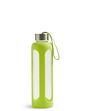 Glass Water Bottle, LIME, catlanding