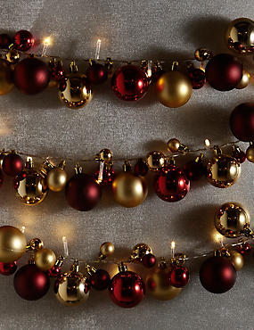 25 LED Red & Gold Bauble Lights, , catlanding