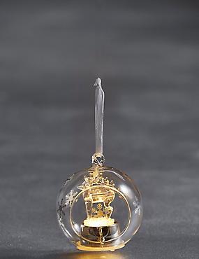 Hanging Lit Glass Reindeer Bauble, , catlanding