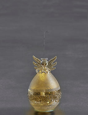 Silver Glass Light-up Angel, , catlanding