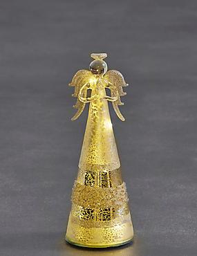 Tall Silver Glass Light-up Angel, , catlanding