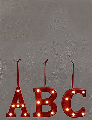 A-Z Light-up LED Red Alphabet Baubles, RED, catlanding