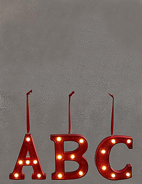 A-Z Hanging Lit Red Alphabet Baubles, RED, catlanding