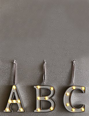 A-Z Light-up LED Silver Alphabet Baubles, SILVER, catlanding