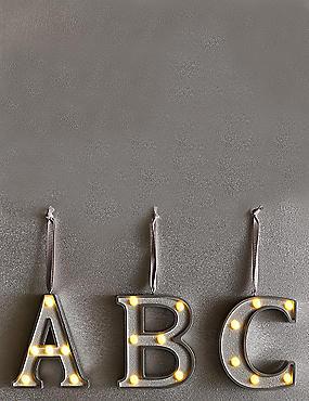 A-Z Hanging Lit Silver Alphabet Baubles, SILVER, catlanding