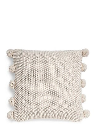 Pom Pom Cushion, CREAM, catlanding