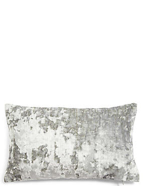Crushed Velvet Bolster Cushion, DUCK EGG, catlanding