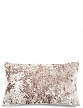 Crushed Velvet Bolster Cushion, TAUPE, catlanding
