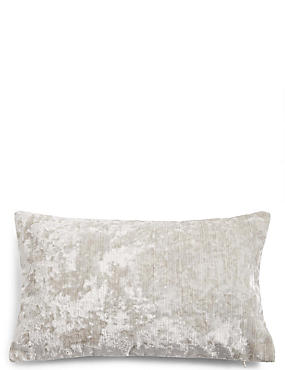 Crushed Velvet Bolster Cushion, OYSTER, catlanding