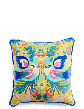 Folk Birds Cushion, , catlanding