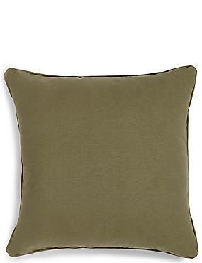 Großes Kissen aus Baumwolle im Rippdesign, KHAKI, catlanding