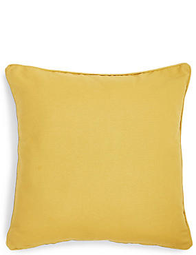 Großes Kissen aus Baumwolle im Rippdesign, OCKER, catlanding