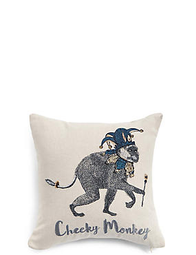 Cheeky Monkey Embroidered Cushion, , catlanding