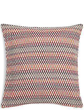 Oversized Geometric Chenille Cushion, RED, catlanding