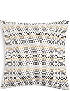 Oversized Geometric Chenille Cushion, OCHRE, catlanding