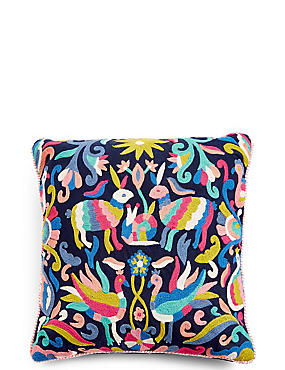 Freya Embroidered Cushion, , catlanding