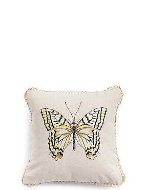 Butterfly Embroidered Cushion, , catlanding