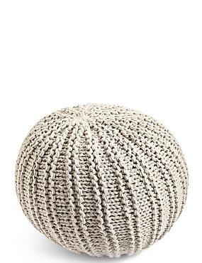 Grey Knitted Pouffe, GREY, catlanding