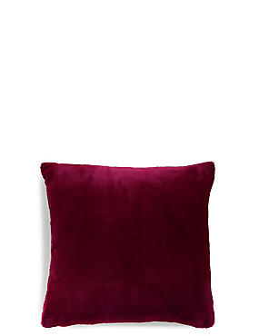 Soft Faux Fur Cushion, BERRY RED, catlanding