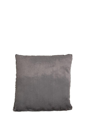Soft Faux Fur Cushion, CHARCOAL, catlanding