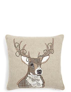 Stag Applique Cushion, , catlanding