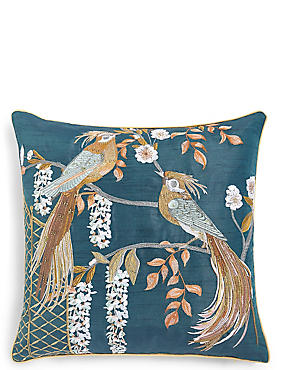 Ophelia Birds Embellished Cushion, , catlanding