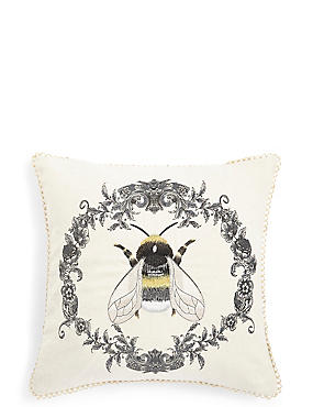 Bee Scroll Embroidered Cushion, , catlanding