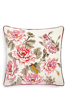 Boutique Floral Embroidered Cushion, , catlanding