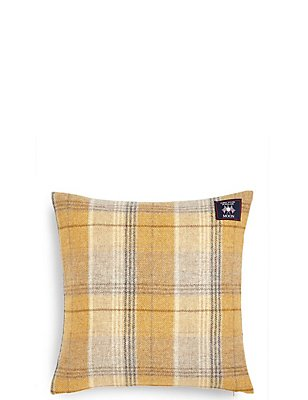 Pure Wool Checked Cushion, OCHRE, catlanding
