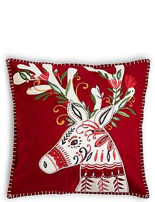 Reindeer Applique Cushion, , catlanding