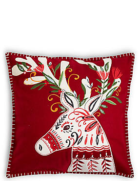 Reindeer Applique Cushion, , catlanding