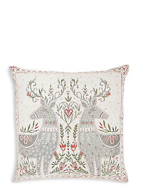 Mirrored Reindeer Cushion, , catlanding