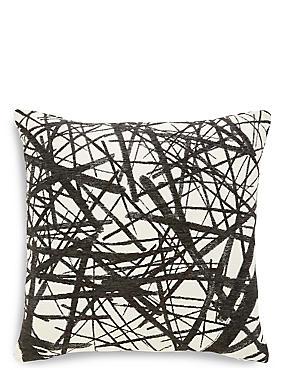 Monochrome Line Print Cushion, , catlanding