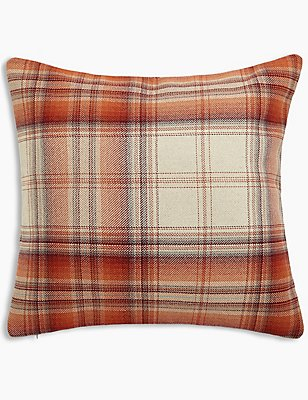 Cosy Checked Cushion, TERRACOTTA MIX, catlanding