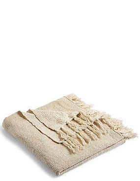 Metallic Knitted Throw, , catlanding