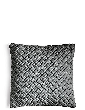 Jersey Weave Cushion, CHARCOAL, catlanding