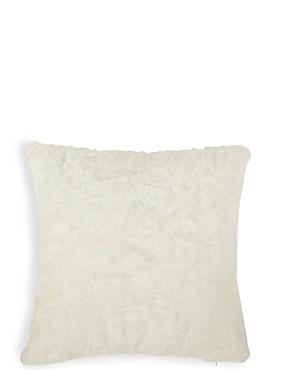 Textured Faux Fur Cushion, CREAM, catlanding