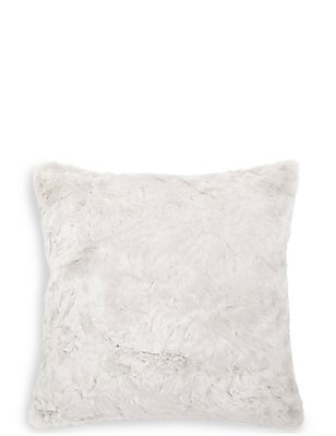Textured Faux Fur Cushion, SILVER GREY, catlanding