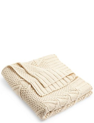 Chunky Cable Knit Throw, CREAM, catlanding