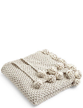 Salt & Pepper Pom-Pom Throw, , catlanding