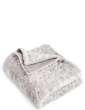 Textured Faux Fur Throw Small, SILVER, catlanding