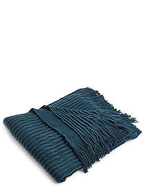 Loop Knit Throw, TEAL, catlanding
