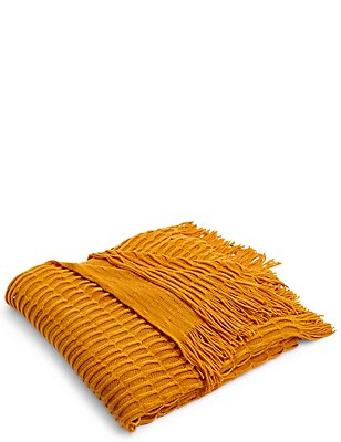 Loop Knit Throw, BURNT ORANGE, catlanding