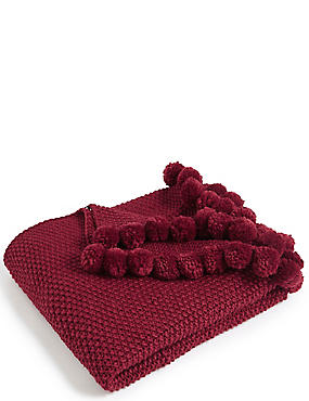 Pom-Pom Throw, BERRY RED, catlanding