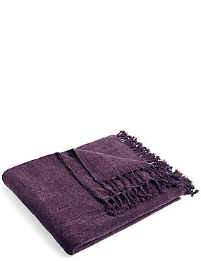 Plain Chenille Throw, PURPLE, catlanding